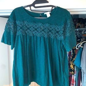 Forest green lacy blouse